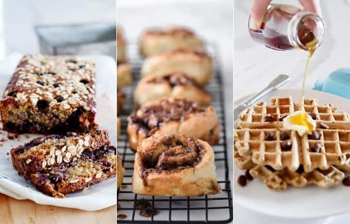 Image: collage of blueberry oat bread, cinnamon rolls, and oatmeal chocolate chip waffles.