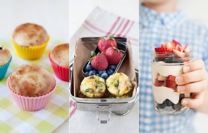 Image: collage of grain-free pancake muffins, spinach & bacon mini quiches, and fruit and yogurt parfait.