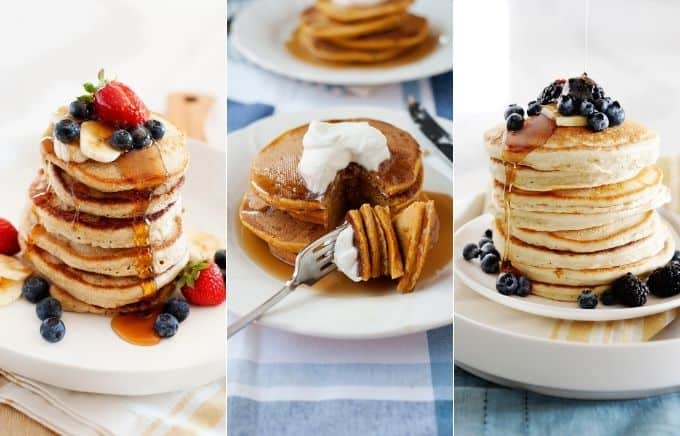 Image: collage of banana oatmeal pancakes, pumpkin spice pancakes, and cassava flour pancakes.