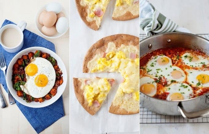 Image: collage of butternut squash & chorizo hash, breakfast pizza, and a skillet of shakshuka.