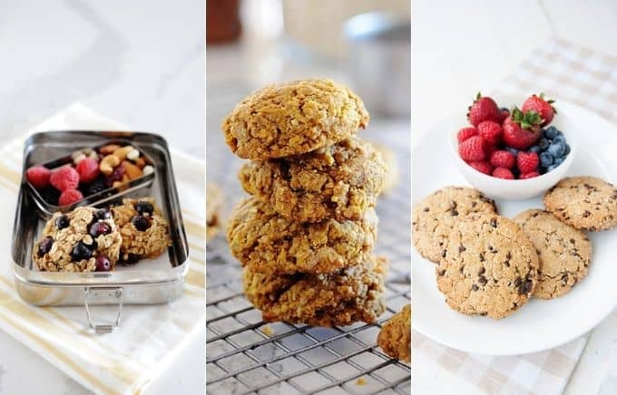 Image: collage of blueberry oatmeal cookies, pumpkin oat cookies, and paleo breakfast cookies.