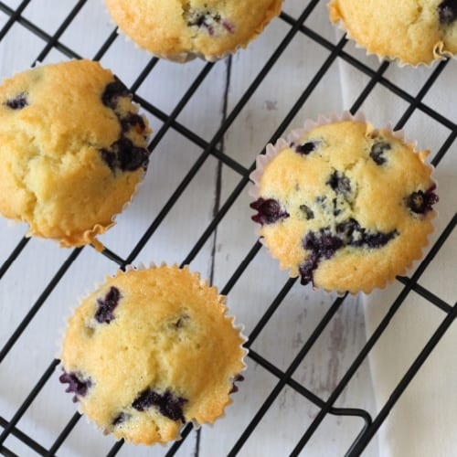 image: five blueberry muffins on a cooling rack.