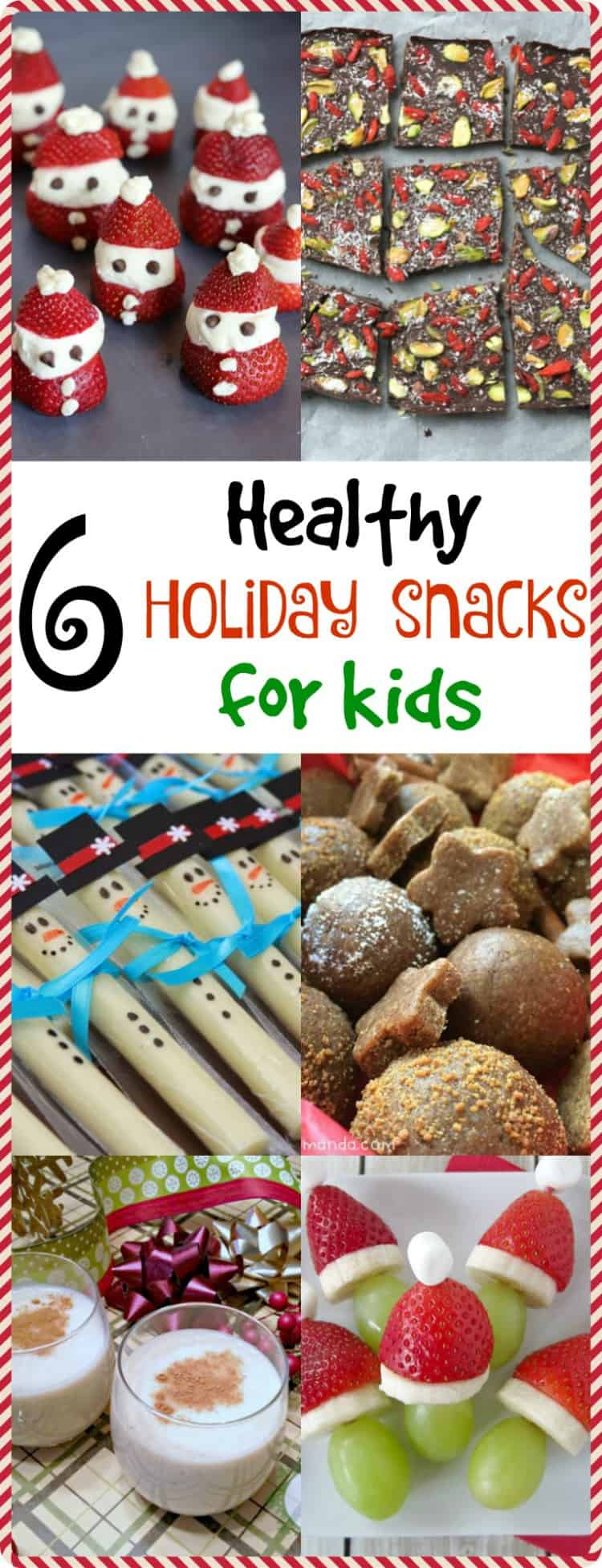 Use these 6 healthy holiday snacks to curb your child's hunger until dinner time! These festive treats will be sure to put your kids in the holiday spirit.