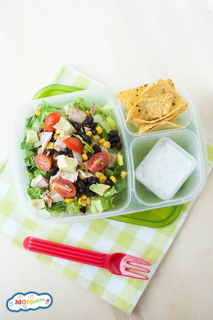 If you're getting bored with your salads, try this flavorful Santa Fe Chicken Salad! It's perfect for lunch boxes, and kids will love the jalapeño ranch dressing.
