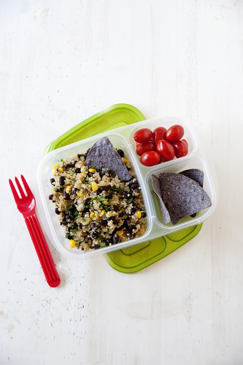 Mix some nutritious, protein-packed quinoa with veggies and delicious Mexican spices in this vegetarian Southwest Quinoa. Use the leftovers for lunch!