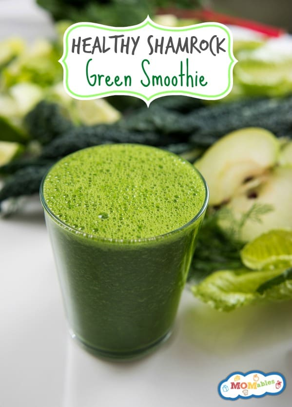 Enjoy a festive Shamrock Green Smoothie this St. Patrick's Day! Packed with nutritious fruits and veggies, this is a healthy smoothie that your kids will love drinking.