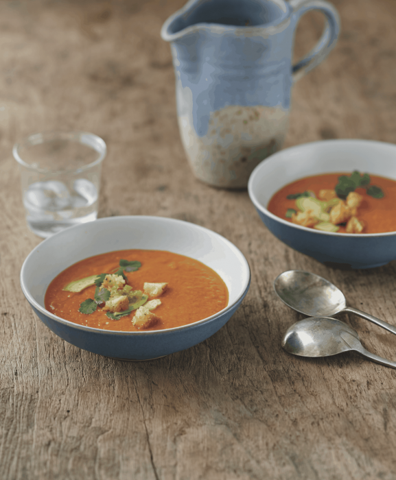 Dipping your spoon into this bell pepper–sweet potato combo is like dipping into a bowl of sunshine. This soup also freezes well, so store the leftovers for easy dinners!