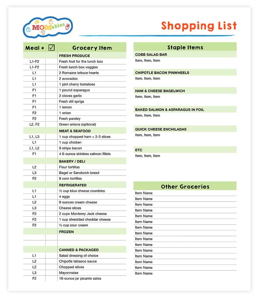 shopping lists in every plan