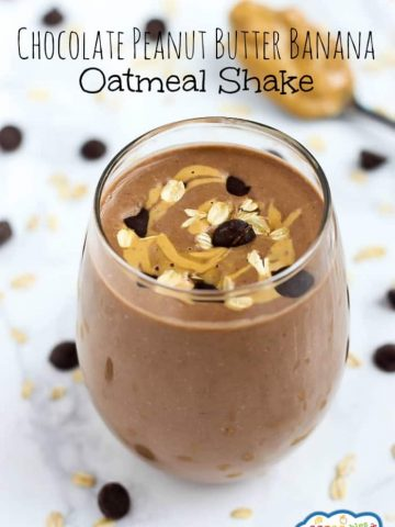 A healthy breakfast shake that tastes like dessert! This Chocolate Peanut Butter Banana Oatmeal Shake is one your kids will ask for every day.