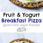 This Fruit & Yogurt Breakfast Pizza is a healthy treat your family will love! It's gluten-free, vegetarian & vegan-friendly, and ready in 20 minutes. Yum!