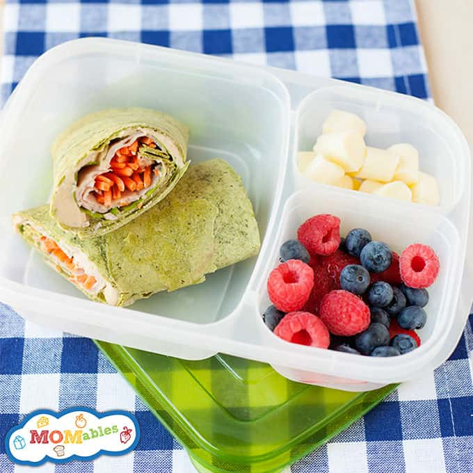 healthy school lunch made of a turkey & veggie wrap, fresh fruit and cheese