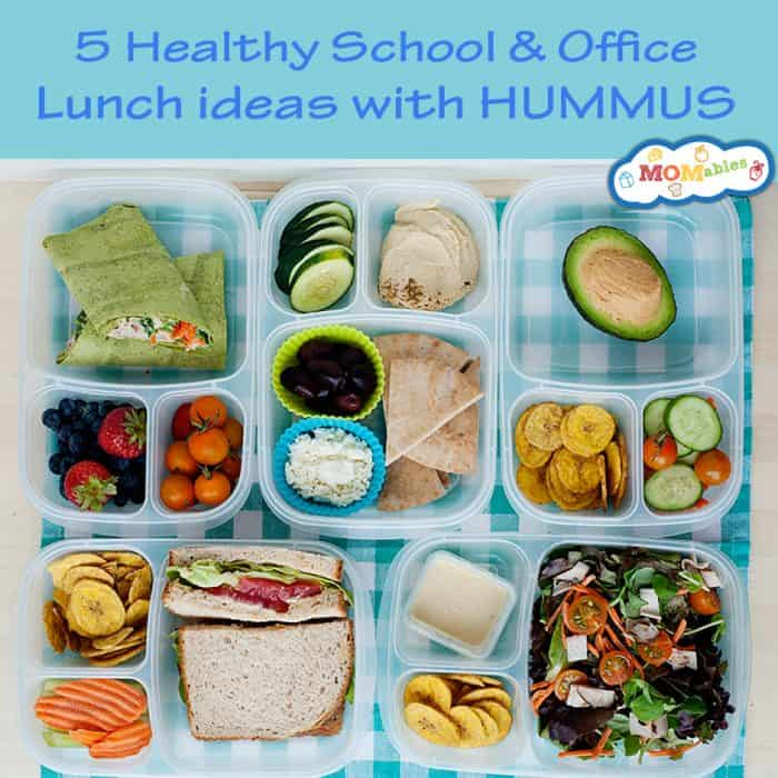 5 Healthy Lunches made with Hummus! How to pack a whole week's worth of school and office lunches with one featured ingredient.