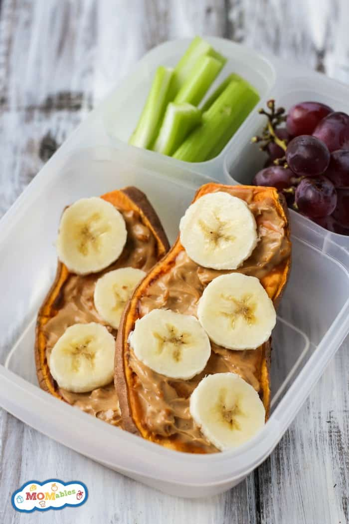 Swap the bread for vegetables in this Sweet Potato Toast Lunchbox Sandwich! Topped with banana & peanut butter, it's a healthy, gluten-free lunch for kids.