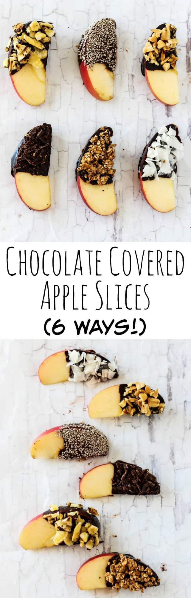 Your kids will love getting hands-on at snack time making these Chocolate Covered Apple Slices! There's 6 ways to make them with fun & tasty toppings.