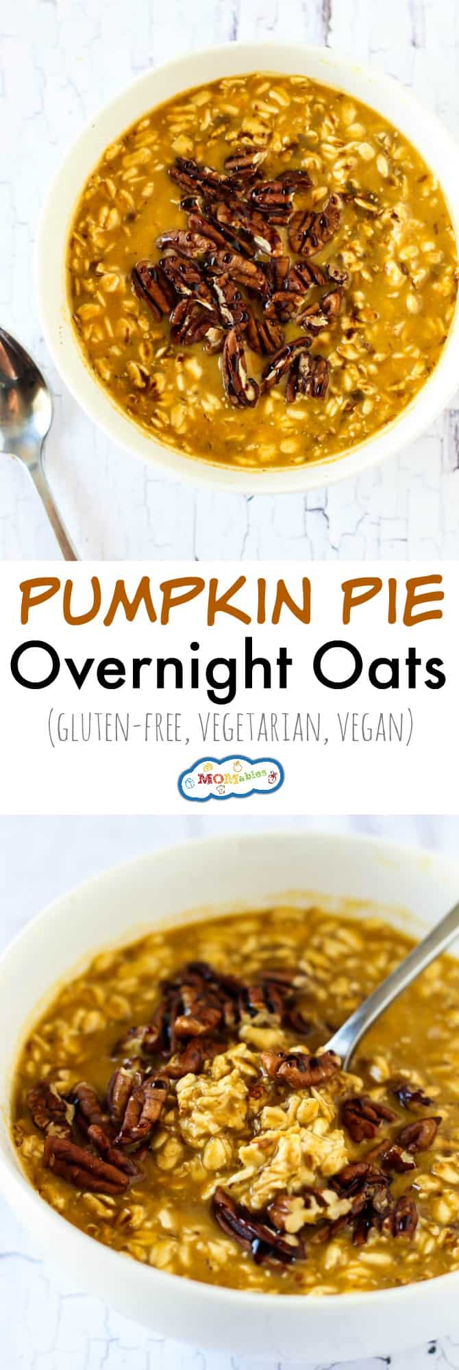 These Pumpkin Pie Overnight Oats have all the flavor you love in a healthy, gluten-free breakfast. A little prep the night before is all you have to do!