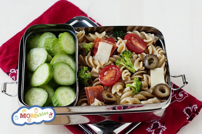 5 Picky Eater Approved School Lunches: Pizza Pasta Salad