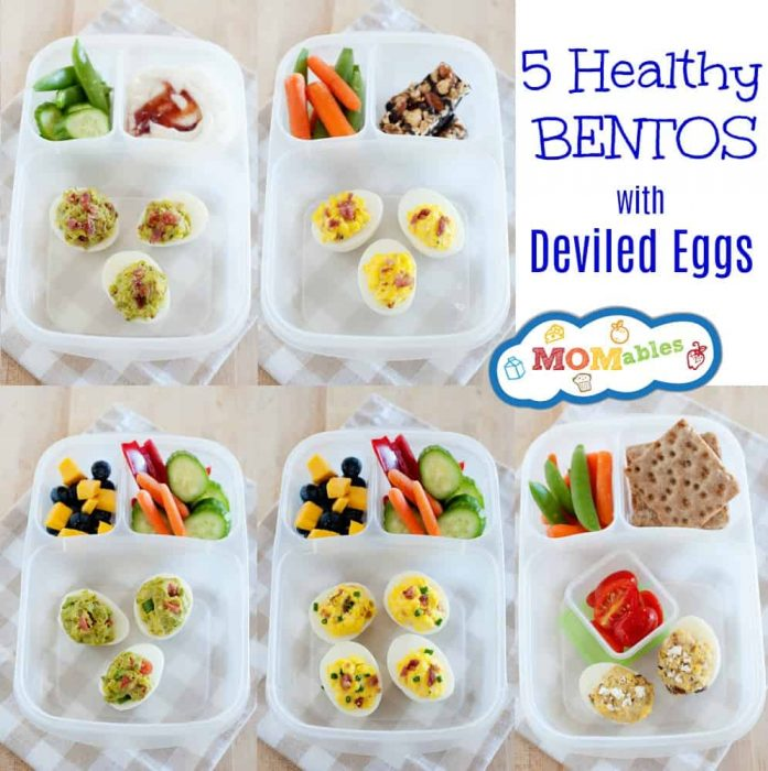 5 Healthy Bentos with Deviled Eggs | These 5 Deviled Eggs recipes will change how you see Deviled Eggs! Loaded Baked Potato, Bacon and Avocado and of course, Mexican Fiesta!! Give one of these recipes a try and tell me your favorite.