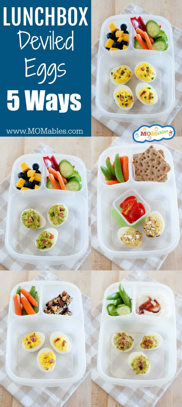 Healthy bento lunches with deviled eggs five ways. These aren't your classic deviled eggs, so you will want to be sure to try all five of them out!