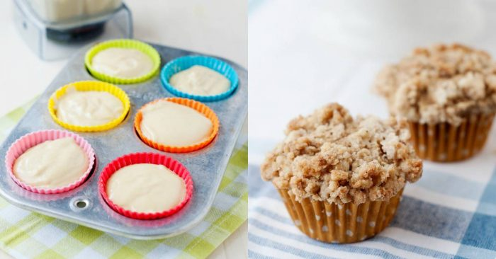 side by side image of muffin batter in a tin and two baked muffins