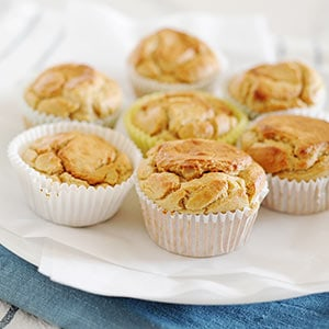 image: large plate of seven banana muffins.