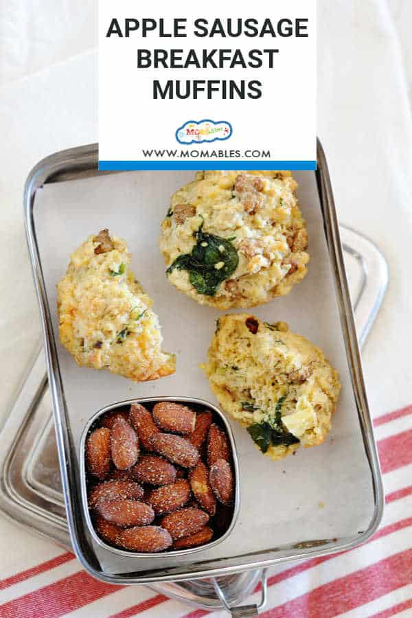 Apple Sausage Breakfast Muffins in a easy lunchbox! These are great for breakfast, a snack, or even for a quick lunch.