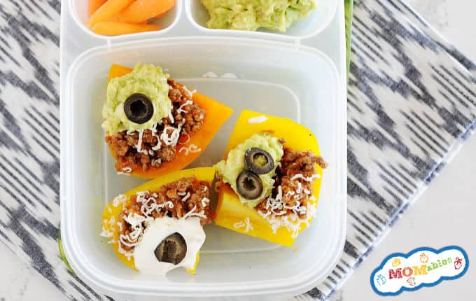image: Closeup of Bell Pepper Nachos in a lunchbox container