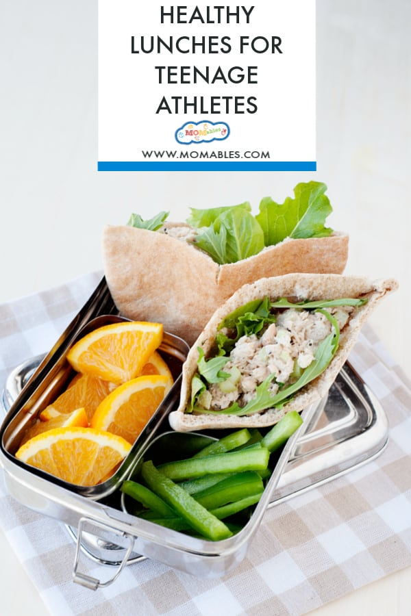 Protein packed salmon salad in a whole wheat pita pocket