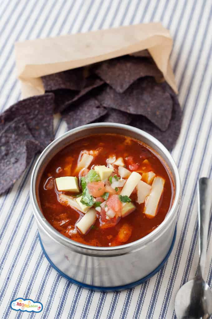 chicken enchilada soup in a thermos