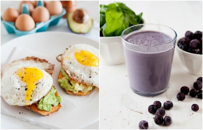image: side by side photos of clean breakfast. Sweet potato toast and blueberry green smoothie.