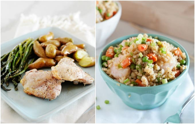 image: side by side photos of chicken dinner and low-carb cauliflower fried ricd