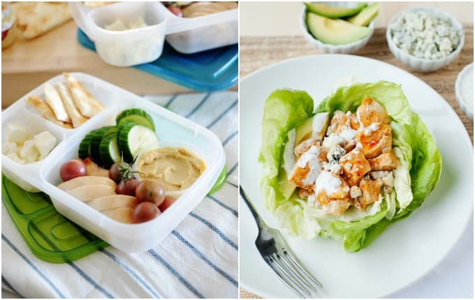 chicken & hummus box and buffalo chicken lettuce cups