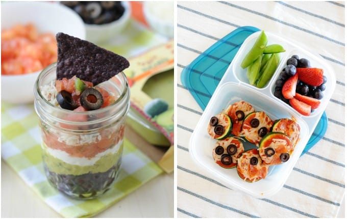 7 layer greek cups and zucchini pizza bites