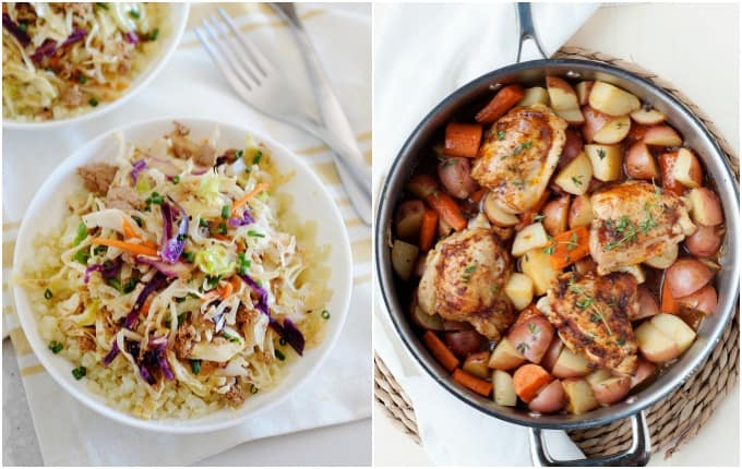 eggroll in a bowl and roasted chicken skillet