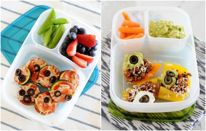 image: side by side images two lunchboxes one with zucchini pizzas, snow peas and berries. Second lunchbox filled with low carb nachos, carrot sticks and guacamole.