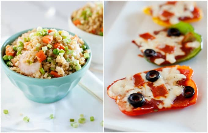 Shrimp Fried Rice and Bell Pepper Pizzas