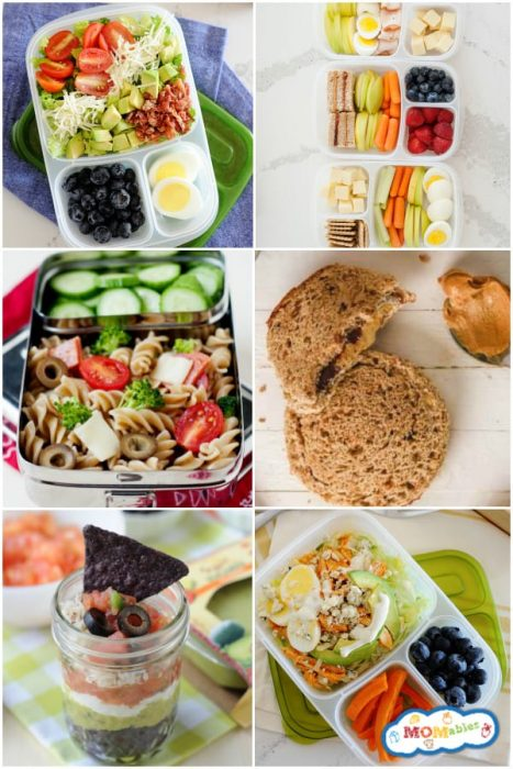 Image: six square images stacked in two rows of cold lunch ideas that are colorful and look kid friendly.