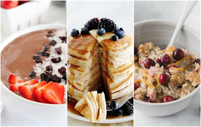 image: three photos side by side of various healthy breakfast options.
