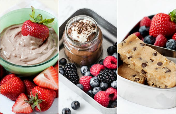 image: three side by side shots of healthy desserts. Chocolate dip, homemade pudding and blondies.