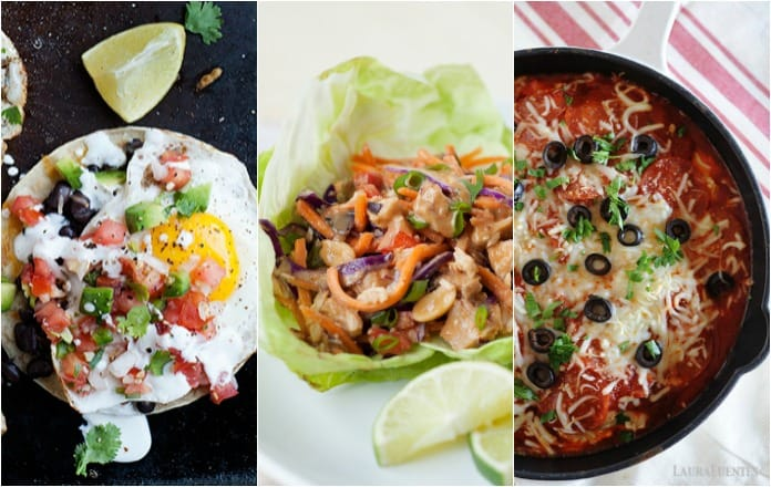 image: three side by side images of healthy dinners including tacos, wraps and skillet pizza chicken.