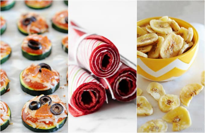 image: three side by side shots of different healthy snacks, pizza bites, fruit roll ups and banana chips.