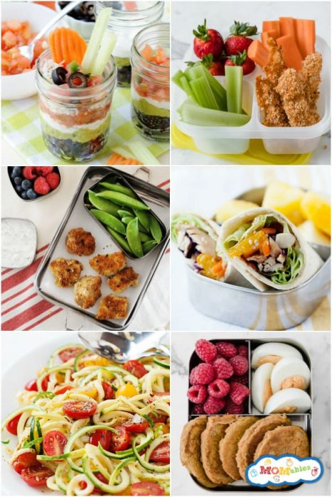 image: collage of six square images with dairy-free lunches