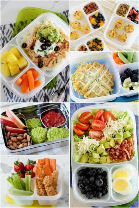 image: collage of gluten-free lunch ideas