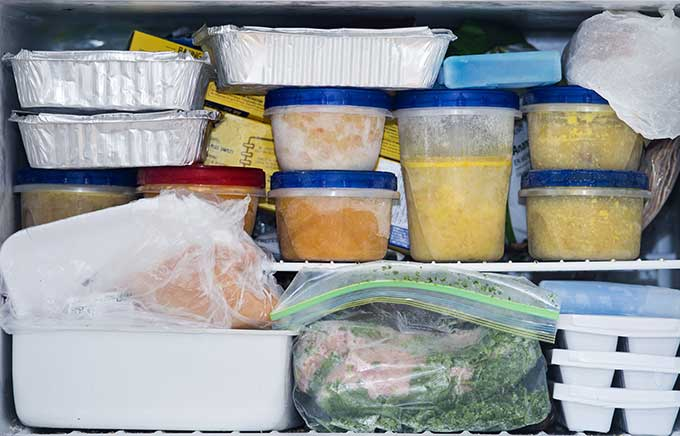 image: freezer full of food