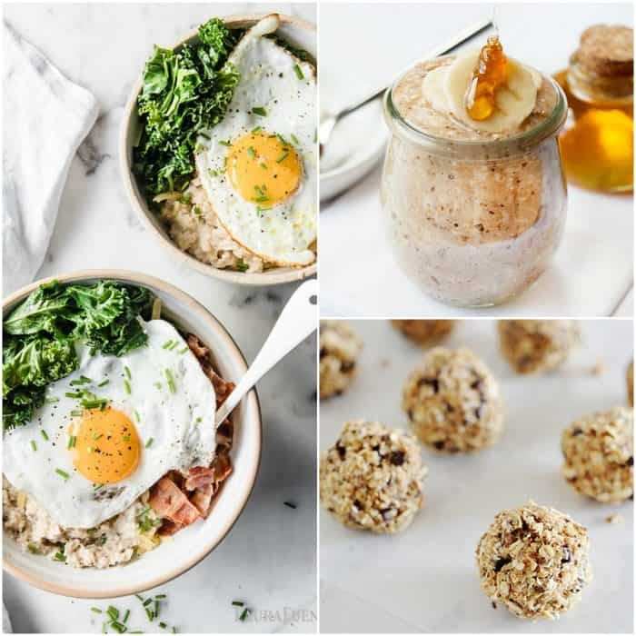 Image: photo collage of three different recipe using oats