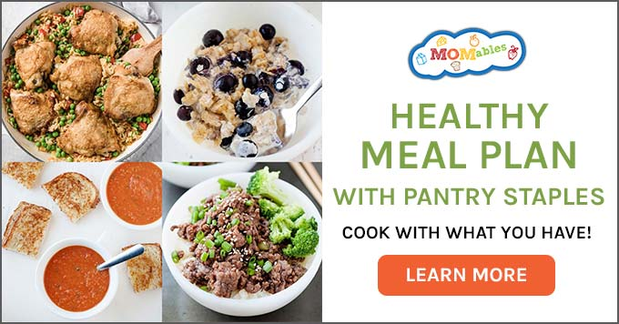 "image: four photos in a collage showing clean meal ideas, text reads ""healthy meal plan with pantry staples - cook with what you have!"""