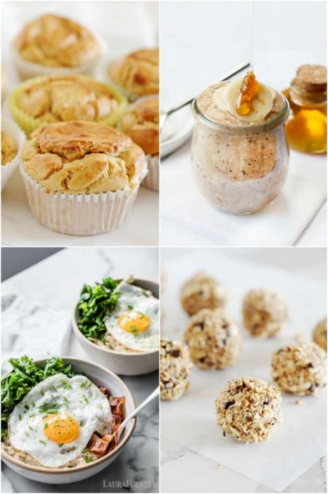 image: collage of four photos, different recipes using oats