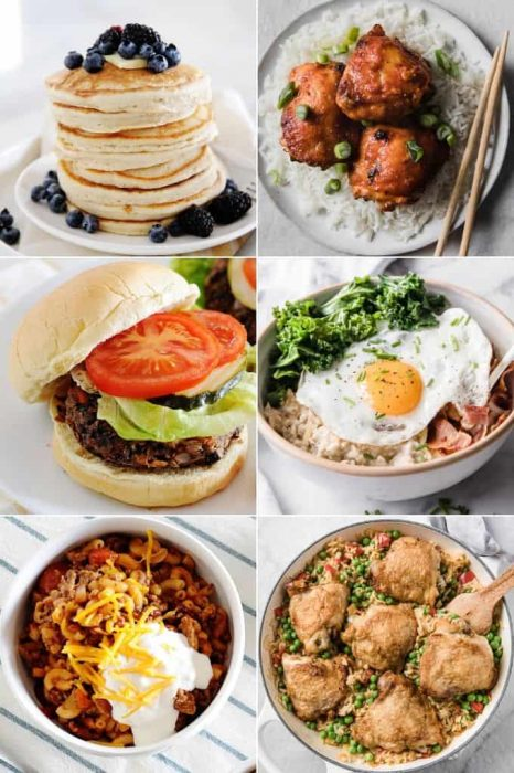 image: six square images of different recipes made with simple ingredients.