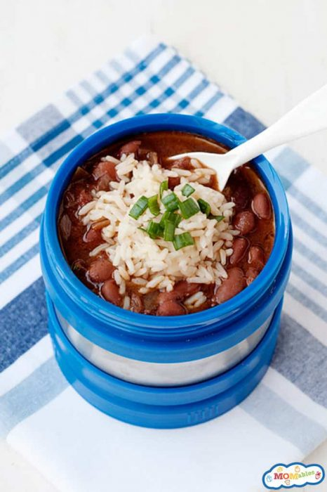 Image: slow cooked red beans with rice in a thermos