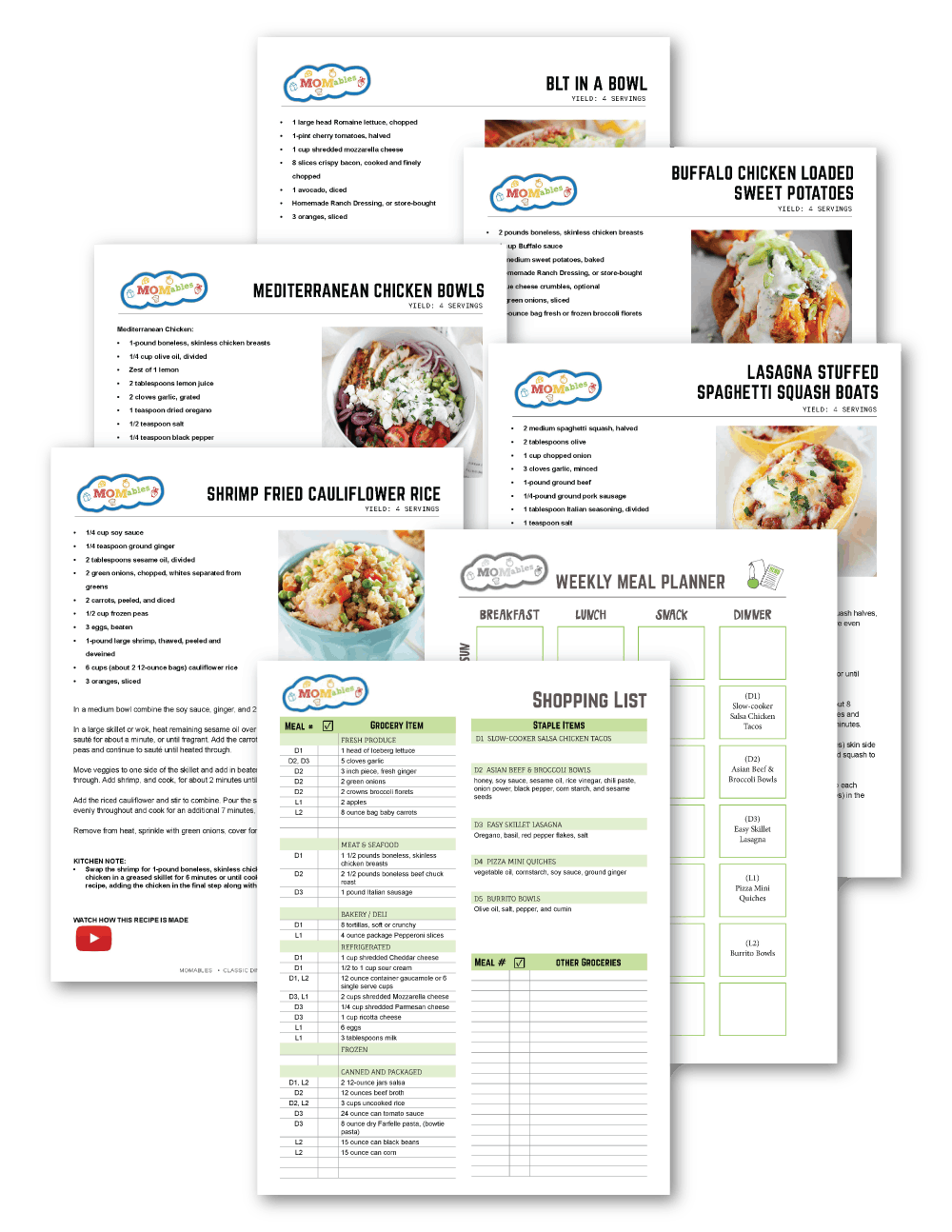 grain free meal plan sheets