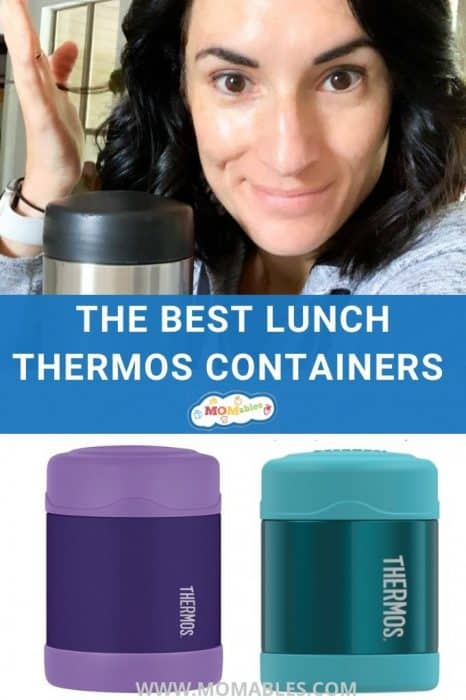 """image: photo collage, woman on top shrugging, two thermoses at bottom of image. Image text reads """"the best lunch thermos containers"""""""